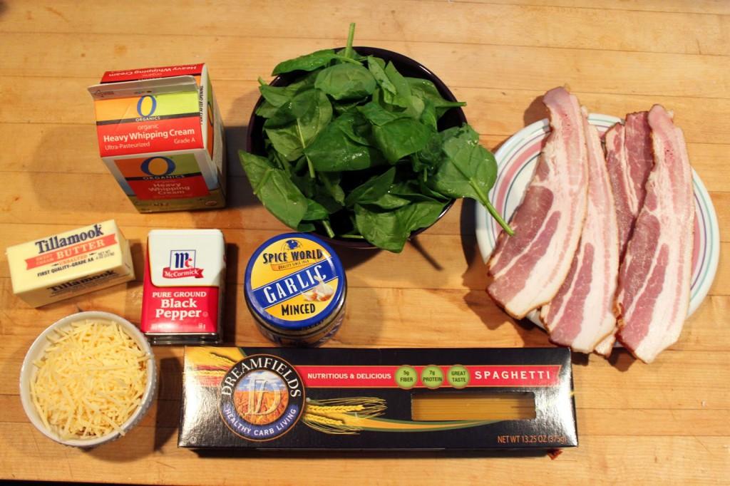 Recipe: Bacon, Spinach, Alfredo Pasta