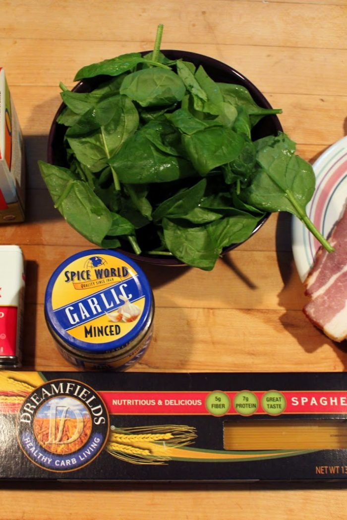 Recipe: Bacon, Spinach, Alfredo Pasta