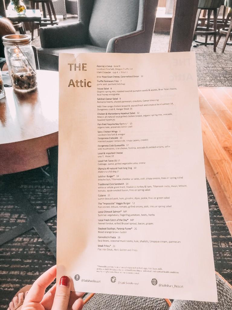 The attic salishan menu